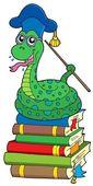 Had učitel na hromadě knih — Stock vektor