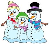 Snowman family — Stock Vector