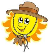Sun in scout hat — Stock Vector