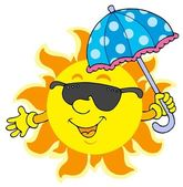 Sun in sunglasses with umbrella — Stock vektor