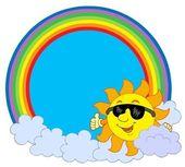 Sol con nubes en círculo arco iris — Vector de stock