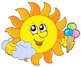 Sun with icecream — Stock Vector