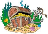 Treasure chest on sea bottom — Stock Vector