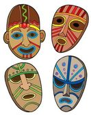 Tribal masks collection — Stock Vector