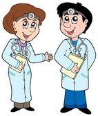 Two cartoon doctors — Stock Vector