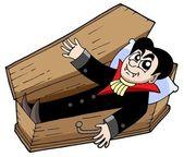 Vampire in coffin — Stock Vector