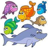 Various cartoon fishes collection — Stock Vector
