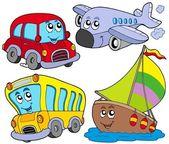Varios vehículos de la historieta — Vector de stock