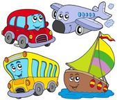 Various cartoon vehicles — Vector de stock
