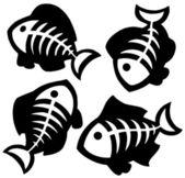 Various fishbones silhouettes — Stock Vector