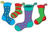 Various Christmas socks — Stock Vector