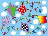 Various kites flying on sky — Stock Vector