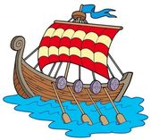 Viking boat — Stock Vector