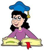 Woman teacher with book — Stock Vector