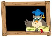 Wooden blackboard with owl teacher — Stock Vector
