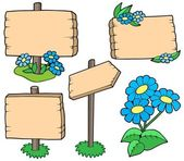 Wooden tables with flowers collection — Stock Vector