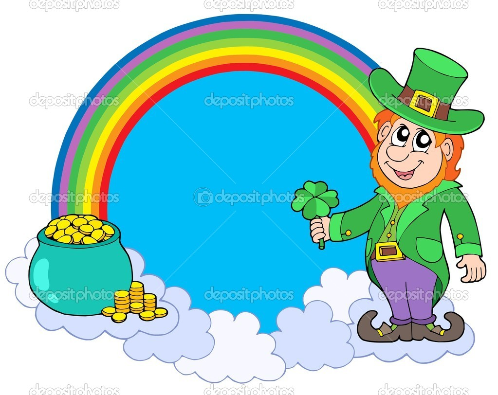 Rainbow circle with leprechaun - vector illustration. — Stock Vector #2260001