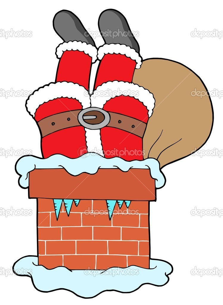 Santa Clauses legs with chimney - vector illustration. — Stock Vector #2260224