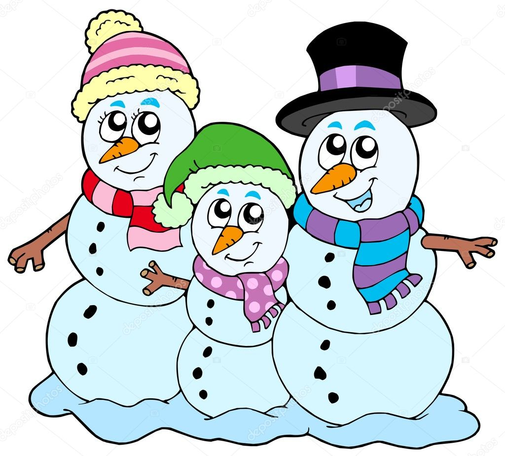 Snowman family on white background - vector illustration. — Stock Vector #2260769
