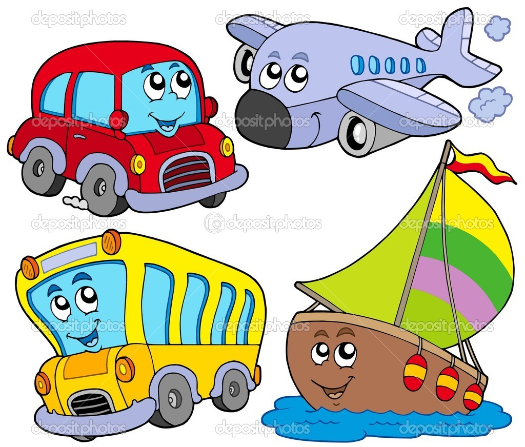 Various cartoon vehicles - vector illustration. — Stok Vektör #2261204
