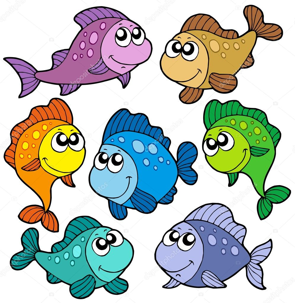 Various cute fishes collection - vector illustration. — Stock Vector #2261303