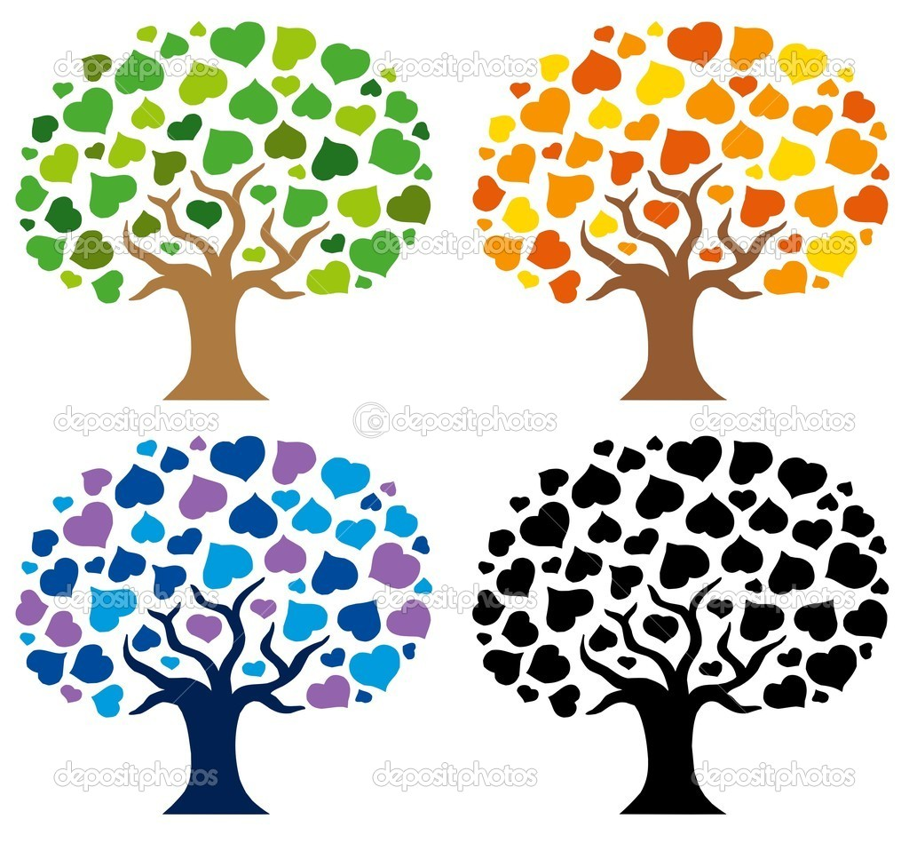 Various trees silhouettes - vector illustration. — Stock Vector #2261496
