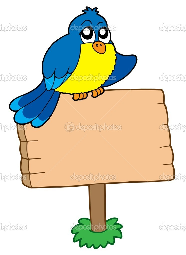 Wooden sign with sitting bird - vector illustration.  Stock Vector #2261725