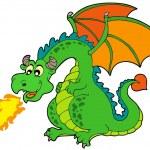 Cartoon fire dragon — Stock Vector