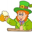 Stock Vector: Cartoon leprechaun with beer