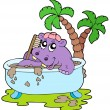 Hippo taking mud bath — Stock Vector
