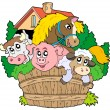 group of farm animals — Stock Vector