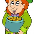 Stock Vector: Leprechaun with treasure pot