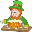 Stock Vector: Leprechaun with three beers