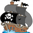 Pirate sailboat - Stock Vector