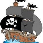 Pirate sailboat — Stock Vector