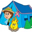 Stock Vector: Scout camping in tent