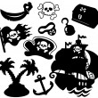 Pirate silhouettes collection - Stock Vector
