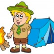 Stock Vector: Scout with tent and fire