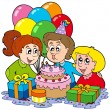 Stock Vector: Three children at birthday party