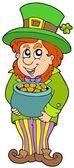 Leprechaun with treasure pot — Stock Vector
