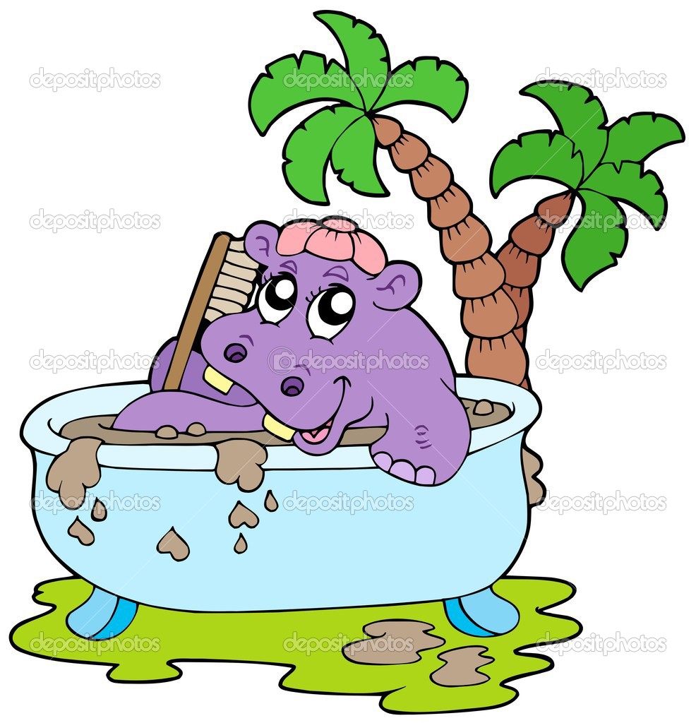 Hippo taking mud bath - vector