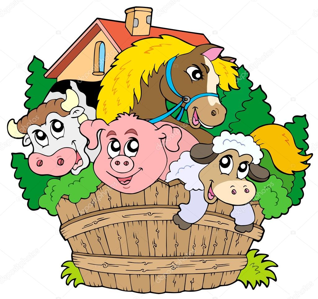Group of farm animals - vector illustration. — ベクター素材ストック #2344554