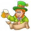 Royalty-Free Stock Photo: Banner with leprechaun holding beer