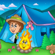 Cartoon scout boy in tent — Stock Photo