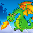 Green fire dragon with castle — Stock Photo