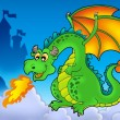 Green fire dragon with castle - Stock Photo