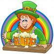 Leprechaun with beers and rainbow — Stock Photo #2364072