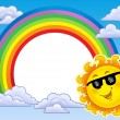 Rainbow frame with Sun in sunglasses — Stock Photo