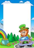 Frame with leprechaun driving car — Stock Photo