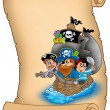Stock Photo: Scroll with saiboat and pirates